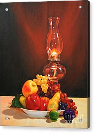 Acrylic Print featuring the painting Fruit Under Lamp Light by Jimmie Bartlett