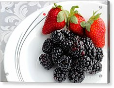 Fruit V - Strawberries - Blackberries Acrylic Print by Barbara Griffin