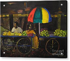 Acrylic Print featuring the painting Fruit Vendors by Brindha Naveen