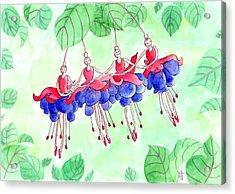 Fuchsia Pas De Quatre Acrylic Print by Julie  Hutchinson