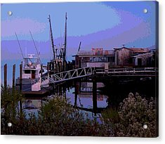 Acrylic Print featuring the painting Old Brunswick Fuel Dock by Laura Ragland