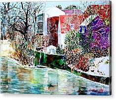 Acrylic Print featuring the painting Fuert Eastern Riverside Of Rednitz by Alfred Motzer