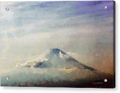 Acrylic Print featuring the painting Fuji Among The Clouds by Kai Saarto