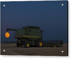 Full Moon And Combine Acrylic Print by Rob Graham