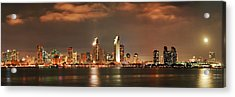 Acrylic Print featuring the photograph Full Moon And San Diego Skyline Panorama by Lee Kirchhevel