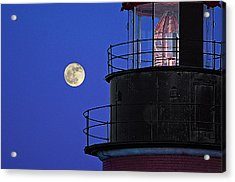 Acrylic Print featuring the photograph Full Moon And West Quoddy Head Lighthouse Beacon by Marty Saccone