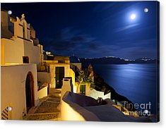 Full Moon At Santorini Acrylic Print