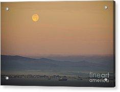 Full Moon At Sunrise Over Spanish Coast Acrylic Print by Deborah Smolinske