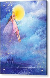 Acrylic Print featuring the painting Full Moon Fairy Nocturne by Judith Cheng
