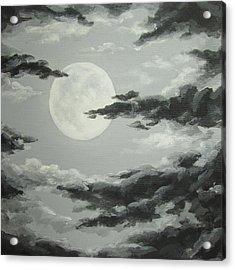 Full Moon In A Cloudy Sky Acrylic Print by Anna Bronwyn Foley