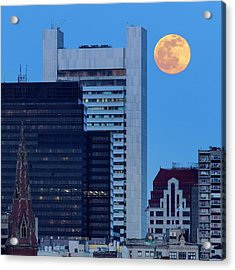 Full Moon Over Boston Acrylic Print by Babak Tafreshi