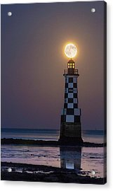 Full Moon Over Lighthouse Acrylic Print by Laurent Laveder