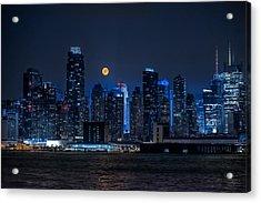 Full Moon Over New York City Acrylic Print