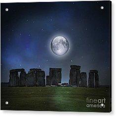Full Moon Over Stonehenge Acrylic Print by Juli Scalzi