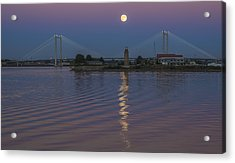 Full Moon Over The Cable Bridge Acrylic Print