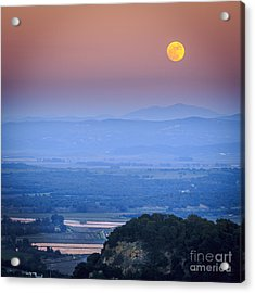 Full Moon Over Vejer Cadiz Spain Acrylic Print