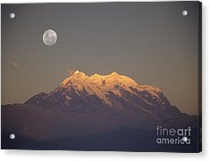 Full Moon Rise Over Mt Illimani Acrylic Print by James Brunker