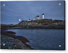 Full Moon Rise Over Nubble Acrylic Print by Jeff Folger