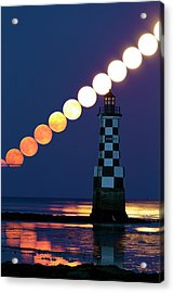 Full Moon Rising Over Lighthouse Acrylic Print by Laurent Laveder
