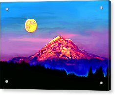 Full Moon Rising Over Mount Hood Oregon Acrylic Print