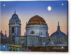 Full Moon Rising Over The Cathedral Cadiz Spain Acrylic Print