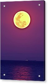 Full Moon Rising Over The Sea Acrylic Print by Luis Argerich