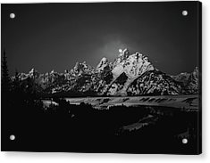 Full Moon Sets In The Teton Mountain Range Acrylic Print