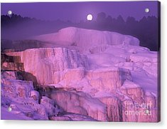 Acrylic Print featuring the photograph Full Moon Sets Over Minerva Springs On A Winter Morning Yellowstone National Park by Dave Welling