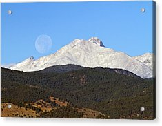Full Moon Setting Over Snow Covered Twin Peaks  Acrylic Print