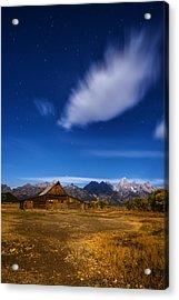 Full Moonlit Mormon Barn At Grand Teton Np Acrylic Print by Vishwanath Bhat