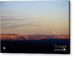 Full Moonrise Over Red Rocks Of Sedona Acrylic Print