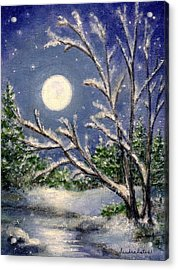 Full Snow Moon Acrylic Print by Sandra Estes