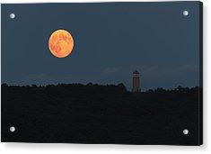 Full Sturgeon Moon Rising Over Quabbin Hill Acrylic Print by Stephen Gingold