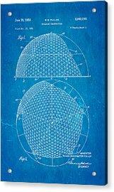Fuller Geodesic Dome Patent Art 1954 Blueprint Acrylic Print by Ian Monk