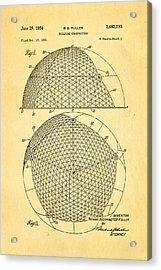 Fuller Geodesic Dome Patent Art 1954  Acrylic Print