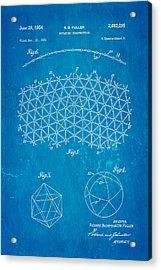 Fuller Geodesic Dome Patent Art 2 1954 Blueprint Acrylic Print by Ian Monk