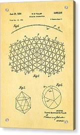 Fuller Geodesic Dome Patent Art 2 1954  Acrylic Print