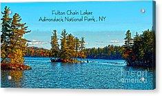 Fulton Chain Lakes  Acrylic Print by Diane E Berry