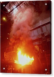 Fumes Coming From A Steel Mill Blast Furnace. Acrylic Print