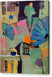 Fumiko's Fan Dance Acrylic Print by Melody Cleary