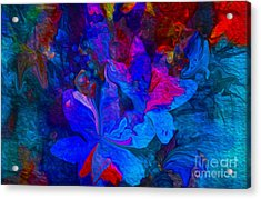 Fun Abstract Flowers In Blue Acrylic Print by Sherri's Of Palm Springs