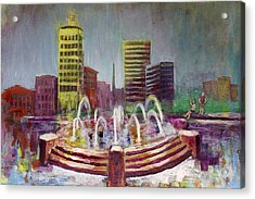 Fun In The Fountain In Asheville Acrylic Print