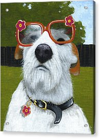 Fun In The Sun ... Dog With Glasses Painting Acrylic Print by Amy Giacomelli