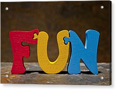 Fun Puzzle Painted Wood Letters Acrylic Print by Donald  Erickson
