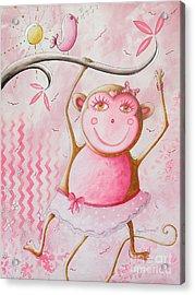Fun Whimsical Pink Monkey Princess Baby Girl Nursery Painting By Megan Duncanson Acrylic Print