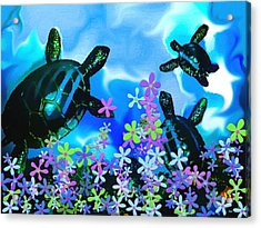 Fun With Sea Turtles Acrylic Print by Lady Ex
