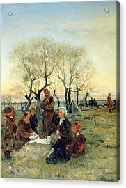 Funeral Repast At The Grave, 1884 Oil On Canvas Acrylic Print
