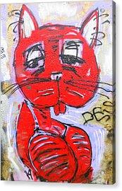Funky Feline Acrylic Print by Ramona Johnston