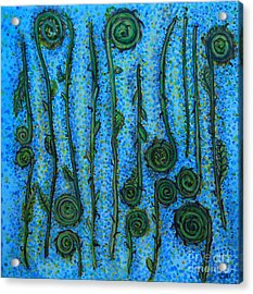 Acrylic Print featuring the painting Funky Fiddleheads by Cynthia Lagoudakis