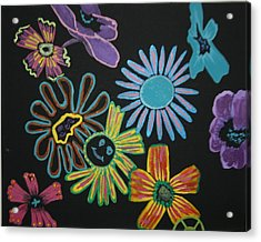 Funky Flowers Acrylic Print by Betty-Anne McDonald